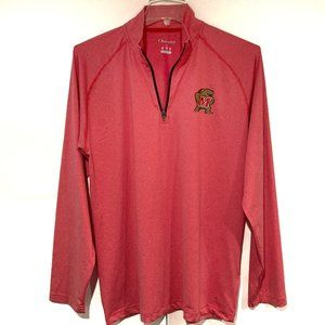 Univ Maryland Terrapins Red 1/4 zip Pullover L NEW